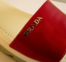 PRADA Sport Casual Red Patent Metal Logo Flat Slides Shoes EU 38 US 8