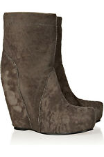 $1624 RICK OWENS FLOCKED LEATHER WEDGE ANKLE BOOTS EU 37.5 GTC