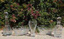 "HEAVY!  cut CRYSTAL wine / liquor decanter - 1"" thick base!"