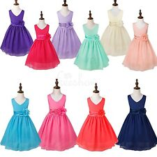 Flower Girls Wedding Party Dress Bow Prom Ball Gown Dresses Clothes Size 2-14T