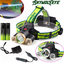 10000 Lumen Headlamp CREE XM-L 3 x T6 LED Headlight +2 18650 Battery+ 2 Charger