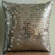 Silver Art Silk 40x40 cm Dotted Throw Cushions Cover - Exotic Lounge