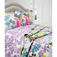 NEW Twin Full Queen King Bed 3 pc Quilt Set Coverlet Reversible Floral Blue Pink