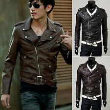 NEW Men's Jackets Slim Fit Casual Oblique Zipper Leather Coat Tops Motorcycle