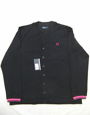 NEW FRED PERRY M4398 MENS BLACK PIQUE COTTON CARDIGAN