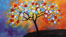 Handmade oil painting canvas modern abstract wall art colorful tree decor framed