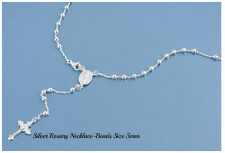 Sterling Silver 925 ROSARY NECKLACE MADE IN ITALY 3MM-LENGTH-18,20,22,24,26 & 28