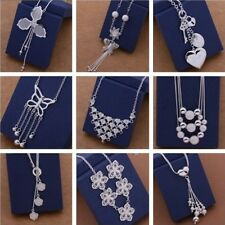 Chic Fashion Women Lady Jewelry 925 Solid Silver Charm Necklace  GIFT BOX