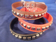 Studded Dog Collar Black Brown or Red DCO 06