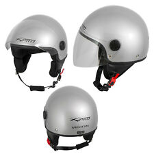 Open Face Jet Helmet Moped Motorbike Scooter Antiscratch Visor Silver