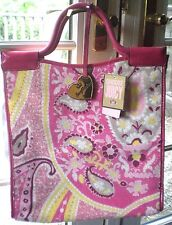 NWT Juicy Couture Pink Yellow Paisley Terry Tote Beach Bag Large