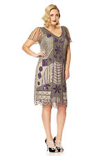Daisy Vintage Inspired Flapper Dress in Taupe