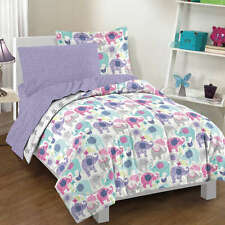 NEW Twin Full Bed Purple Pink Blue Gray Elephant Stars 7 pc Comforter Sheets Set