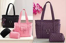 2 Pc. Quilted Tote Cosmetic Bag Set Handbag Purse Womens Gift Black Pink Purple