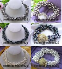 X0176 4row 7mm rice freshwater pearl necklace Bracelet