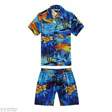 Boy Toddler Aloha Shirt Set Shorts Beach Hawaiian Cruise Luau Blue Sunset Palm
