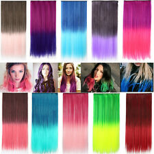 Straight Clip In Hair Extensions Ombre Two Tone Party Salon Hair Piece 18 Colors