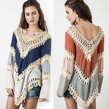 Out Sleeve V-Neck Casual Knit Long Women Splice Blouse Irregular Loose Tops Holl