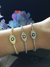 Evil Eye 925 Kabbalah Bracelet Good Luck Charm Protection Sterling Silver CZ