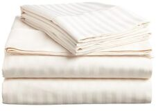 Bed Striped Ivory Single ( 1PCs ) Fitted Sheet 100% Egyptian Cotton Sizes 800TC