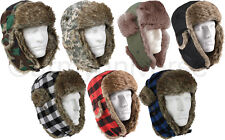 Warm Winter Bomber Hat Aviator Fur Flyer's Trapper Cap