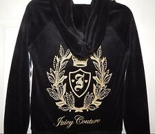 NWT JUICY COUTURE VELOUR HOODIE CREST BLACK GOLDEN LOGO Size XS; S; XL SHIP FAST