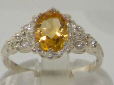 Luxurious Solid 14K White Gold Natural Citrine Womens Solitaire Ring