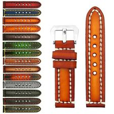 StrapsCo Thick Vintage Leather Watch Band Strap / Heavy Duty Contrast Stitching