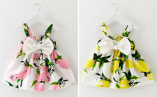 Newborn Baby Girl Clothes Dress Lemon Print Cotton Sleeveless Floral Party Skirt