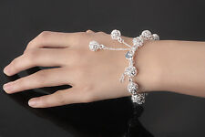 925 Silver Hollow Beads Ball Cable Bracelet Women Indian Vintage pulseira Charm