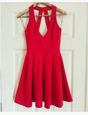 Asos Womens Backless Skater Fit & Flare Scuba Embossed Red Dress Size 6