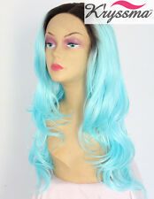 "Ombre Synthetic Hair Lace Front Wigs 20"" Black&Blue Long Wave Glueless Heat Safe"