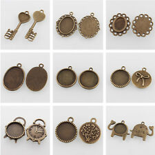 50pcs New Vintage Alloy Pendant Cabochon Settings Blank Tray Antique Bronze DIY