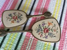 Vintage Ornate Hair Brush And Mirror Embroidered Dressing Table Set