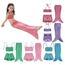 Girls Fish Mermaid Tail Swimmable Kids Swimwear Bathing Suits Princess Costume