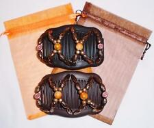 "Double Magic Hair Combs, African Style Butterfly Clips, Dress Comb, ""Full Moon"""