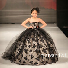 Black Ball Gown Tutu Flower Girl Dresses Party Birthday Gown Size 2 4 6 8 10 12