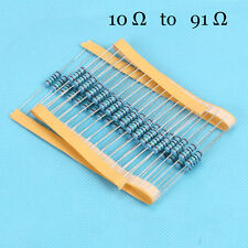 100pcs/lot 1/4W  Watt Metal Film Resistor 1% 10 Ω to 91 Ω Ohm 0.25W ROHS