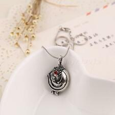 Retro Vampire Diaries Elena Vervain Red Silver Crystal Charm Pendant Necklace HD
