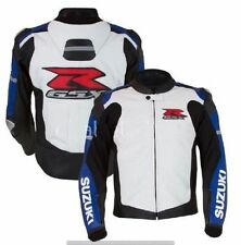 Customized White Color SUZUKI GSXR MOTORCYCLE MOTO-GP Leather Jacket CE Armoured