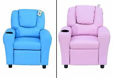Kids Recliner Chair Blue Pink Armchair Seat Room Cinema Sofa Cup Holder Leather