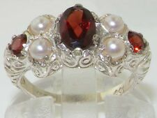 Luxury Solid 585 14K White Gold Natural Garnet & Cultured Pearl Victorian Ring