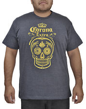 Mens Corona Extra Pop Top T-Shirt Dark Heather Gray Skull Print Bottle Opener