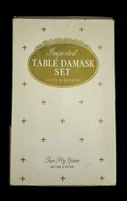 """Vintage Ivory Cotton-Rayon Damask Imperial 6 13"""" Napkins 52""""x68"""" Tablecloth"""