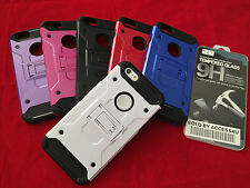 SHOCKPROOF HYBRID KICKSTAND ARMOR CASE & LCD TEMPER GLASS FOR IPHONE 6S PLUS