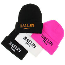 Women's Men's Winter Cuffed Beanie Hats BALLIN Paris Hip Hop Knit Ski Skull Caps