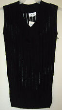 CHESLEY V Neck Semi Sheer Ribbed knit stretch Tank Top Tunic Sweater VEST NWT
