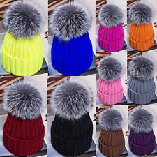 Women Warm Winter Wool Knit Beanie Raccoon Fur Pom Bobble Hat Crochet Ski Cap
