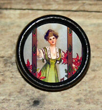 POINSETTIA Xmas BEAUTY Victorian Altered Art Tie Tack or Ring or Brooch pin