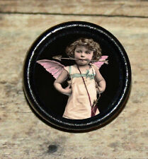 VALENTINE Victorian CUPID GIRL photo Altered Art Tie Tack or Ring or Brooch pin